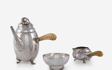 An American sterling silver three-piece tea service Unknown maker,...