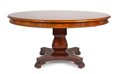 An Empire Style Figured Mahogany Pedestal Dining Table