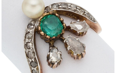 Antique Emerald, Diamond, Cultured Pearl, Rose Gold Ring The...