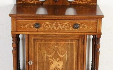 Antique English rosewood music cabinet with intarsia