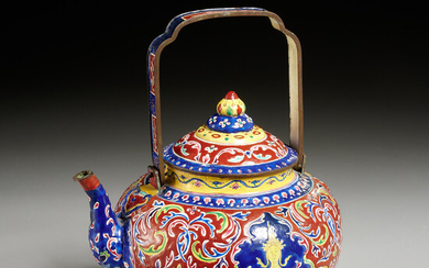 Antique Thai enameled copper tea pot