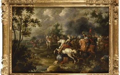 Attributed to Peter MEULENER (1602 - 1654) Cavalry shock Oil on canvas 76,5 x 112,5 cm (Ancient restorations) Beautiful gilded wood carved frame from the 18th century