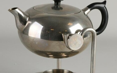 Bauhaus style nickel-plated brass teapot with