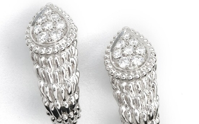 """Boucheron: A pair of diamond ear pendants """"Serpent Bohème"""" each set with numerous brilliant-cut diamonds weighing a total of app. 0.45 ct., mounted in 18k. (2)"""