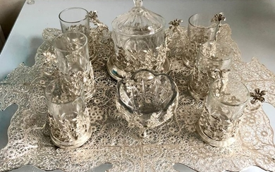 Bowl, Cup, Tray (8) - Silver plated, copper