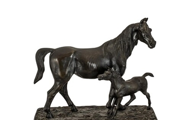 Bronze Figure of a Mare & Foal, early 20th Century, after th...