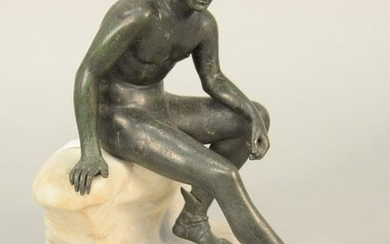Bronze figure of a nude man with winged sandals, a