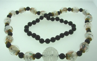 CHINESE BEAD NECKLACE PAINTINGS INSIDE BLACK WHITE