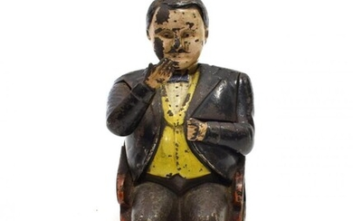 Cast Iron Tammany Bank with figure seated on chair (F-G)...