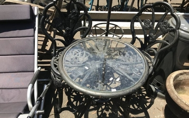 Cast Iron Three Piece Outdoor Suite incl. Round Glass Insert Table & Pair of Chairs