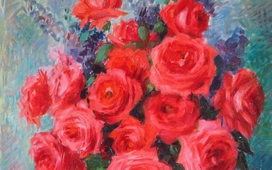 Cathala-Mongoin Nelly (1916-) - Roses et lupins