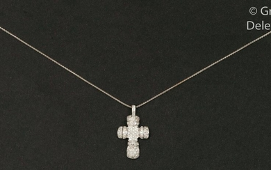 "Chain and pendant "" Croix "" in white..."