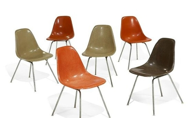 Charles Eames & Ray Eames shell side chairs, six