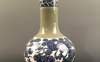 Chinese Blue-White Bottle Vase, Kangxi Mark 13'' H