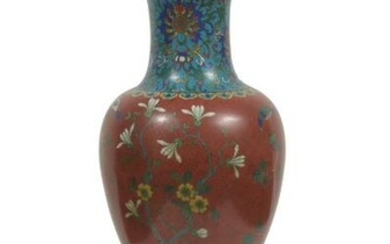 Chinese Cloisonne Vase Made Into a Lamp, 18th Century