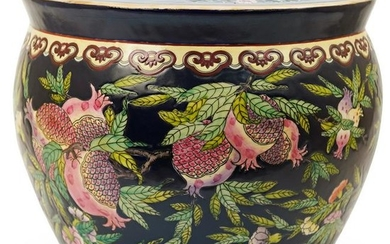 Chinese Enameled Pomegranate Fish Bowl