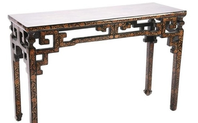 Chinese Gilt and Polychrome Black Lacquer Altar Table