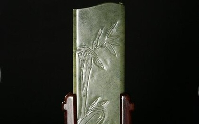 Chinese Spinach Jade Arm Rest, Zigang, 18th Century
