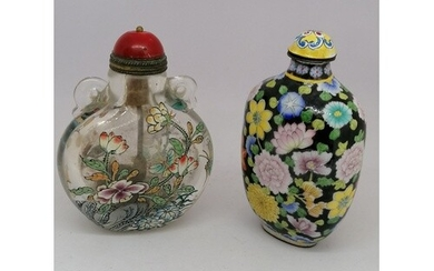 Chinese glass and enamel snuff bottle containing snuff T/W a...