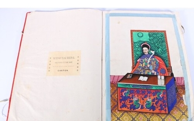 Chinese silk covered book containing twelve rice paper paint...
