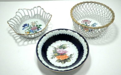Collection of 3 Romanian Porcelain Small Baskets made by Cluj