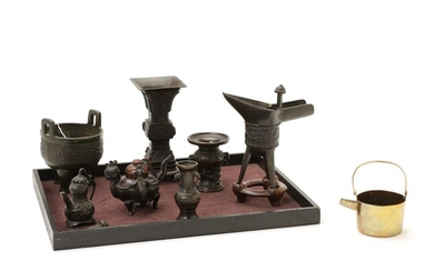 Collection of japanese and Chinese bronzes in the shape of two vases, tripod ding, jue...