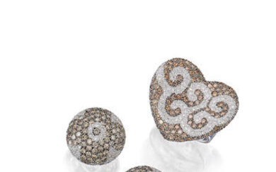 Coloured Diamond and Diamond Ring and Earring Set