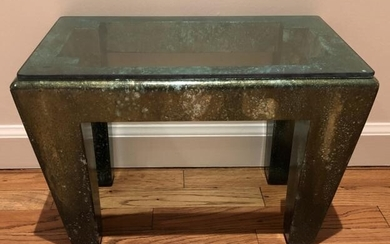 Contemporary Glass Top Carved Silver Green Stool