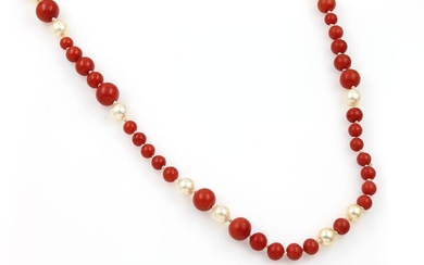 Coral necklace with cultured pearls , Italy...