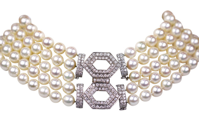 Cultured pearl, diamond, and white gold multi-strand convertible necklace