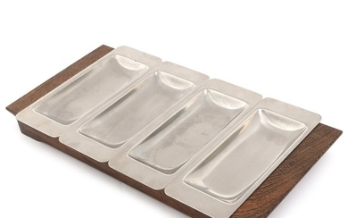 Danish design: Wénge serving tray with four steel inserts. Manufactured by Voss. L. 44 cm.