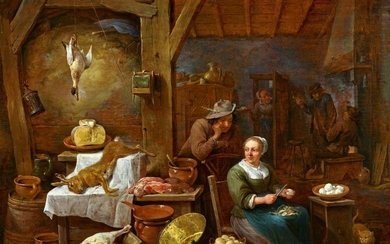 David Teniers the Younger - Rustic Kitchen Still Life with a Couple