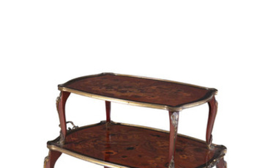 Description A FRENCH KINGWOOD AND MARQUETRY INLAID ETAGERE, 19th...