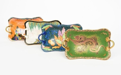 Dragon and Cloud' a Carlton Ware twin-handled footed dish, pattern no 3331, printed and enamelled in colours and gilt on a matt green ground with a ferocious Chinese dragon, another Carlton Ware 'Garden' twin-handled bowl and two others similar...
