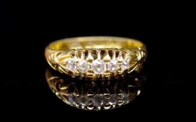 Edwardian diamond and 18ct yellow gold ring five old cut dia...