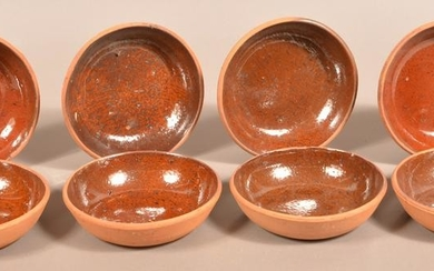 Eight Glazed Redware Pottery Bowls.