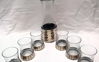 Elegant Set of Jug and Glasses (7) - .800 silver, Crystal - CHELI ARDUINO - Italy - Mid 20th century