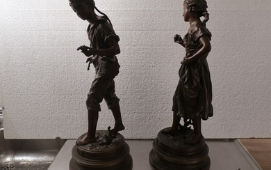 Ernest Rancoulet: A pair of French painted zinc sculptures, on round bases. 19th century second half. H. 53 cm. (2)