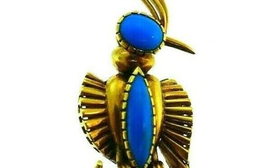 FRENCH 18k Yellow Gold & Turquoise Bird Brooch Vintage