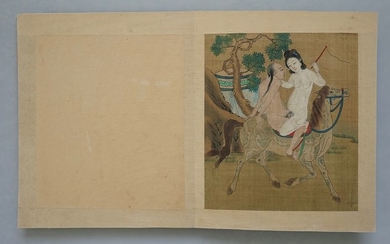 Fine Paintings with Erotic Scenes (10) - Silk - China - Late 19th century