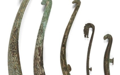 Five Chinese bronze belt hooks, Warring States - Han dynasty,...