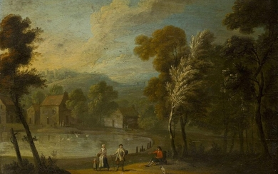 Flemish School, 18th century- Tranquil rural scene with villagers by...