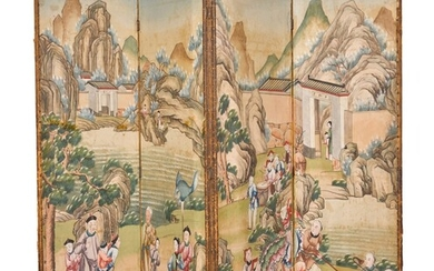 Four Chinese Export painted panels mounted as a four-fold screen, late 18th/19th century, the panels made into a screen in the 19th century