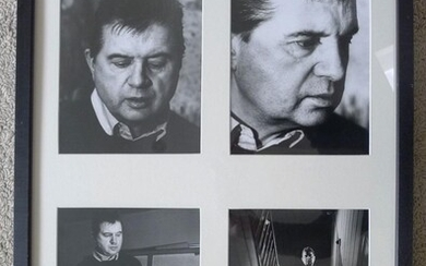 Four Portraits of Francis Bacon. Original gelatin prints by Jorge Lewinski. Circa 1970. Studio stamp of the photographer, each circa 195x248mm. in later frame.