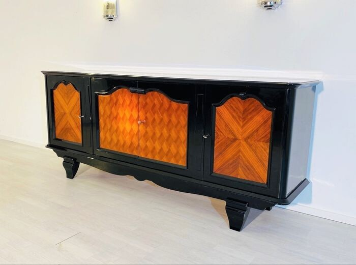 French Art Deco sideboard with checkerboard veneer