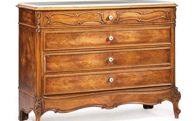 French Provincial Carved Fruitwood Commode