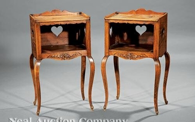 French Provincial Carved Walnut Petite Commodes