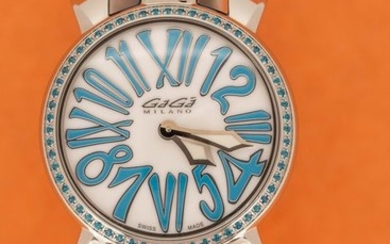 GaGà Milano - Manuale 35mm Stones Light Blue Topaz Crystals White Mother of Pearl Dial Leather Strap Swiss Made - 6025.03 - Women - BRAND NEW