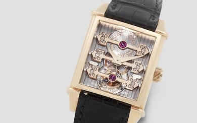 Girard-Perregaux. A fine and unusual 18K rose gold Limited Edition automatic skeletonised rectangular tourbillon wristwatch with three gold bridges