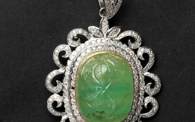 Gold and Diamonds Pendant - combined with Emeralds weight - 57.91 carat